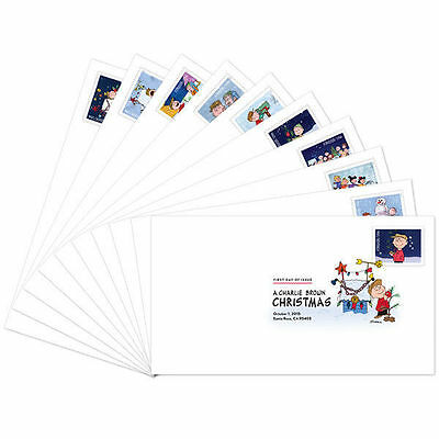 US 5021-5030 A Charlie Brown Christmas DCP (set of 10) FDC 2015