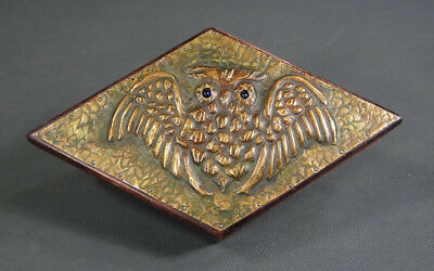 1900's Arts&Crafts Brass Wise Owl Bird Wooden Cigarette Jewelry Trinket Box Case