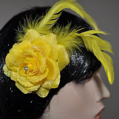 Flower Yellow Rose Hair Clip Glitter Feathers Accessories