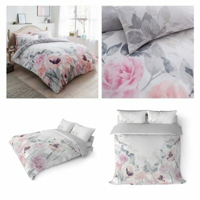 Faded Floral Duvet Covers Pink Grey Flowers Printed Easy Care Quilt Bedding Sets