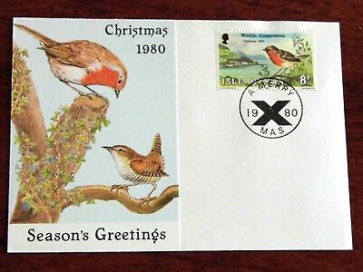 Official Christmas card Isle of Man 1980 robin wildlife conservation IOM