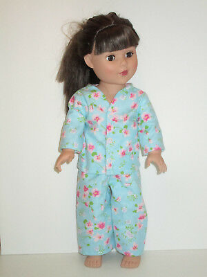 "Pink Flowers/Blue Pajamas for 18"" Doll Clothes American Girl"
