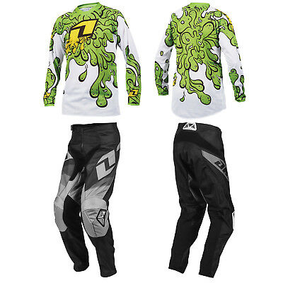 ONE INDUSTRIES YOUTH BLACK ATOM MOTOCROSS PANTS / SLIME GREEN JERSEY childs kit