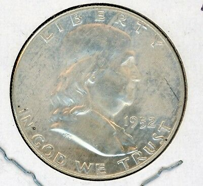 1952 D Benjamin Franklin Silver US Half Dollar  Uncirculated high grade
