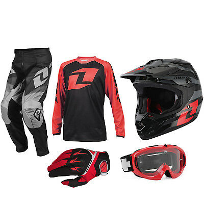 Kids One Industries Motocross Kit - Pants Jersey Gloves Helmet Goggles - Red