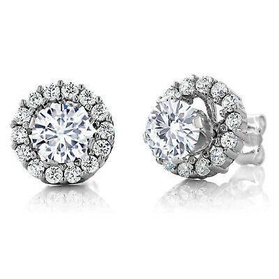 925 Sterling Silver Earrings Forever Classic Round Created Moissanite 1.00ct DEW