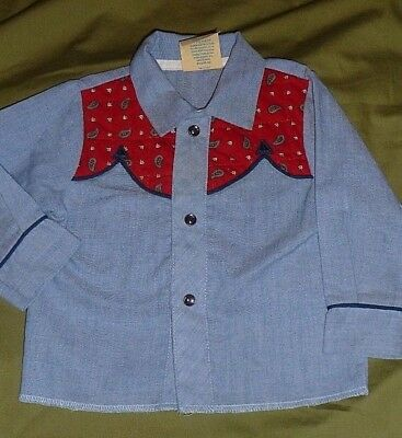 Vintage Kid Kountry Infant light blue red 3 button snap western art shirt