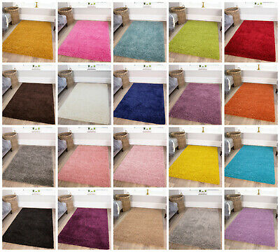 SMALL LARGE SIZE THICK PLAIN SOFT SHAGGY RUG NON SHED 5cm PILE BLACK FRIDAY RUGS