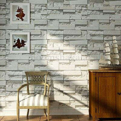 3D Rustic Grey White Embossed Brick Effect Wallpaper Wall Paper Decor 10M Roll