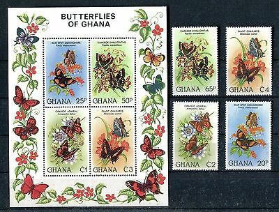 Ghana 789-793, MNH, Insects Butterflies, Flowers 1982. x26110