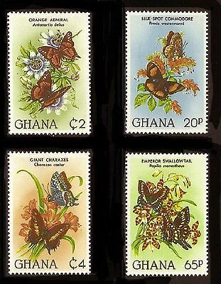 Ghana 789-792, MNH, Insects Butterflies, Flowers 1982. x26109