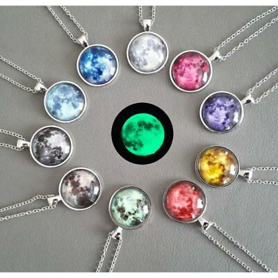 Luminous Glow In The Dark Necklace Galaxy Planet Glass Cabochon Pendant Necklace