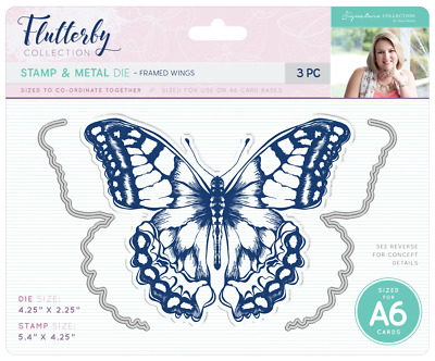 New Sara Davies Flutterby Collection Metal Dies and Stamp Butterfly Framed Wings