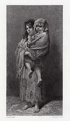 "1800s Gustave DORE Engraving ""The Homeless Little Wanderers"" SIGNED Framed COA"