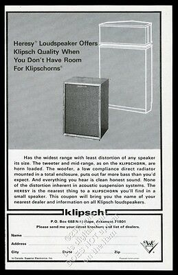 1976 Klipsch Heresy loudspeaker stereo speaker photo vintage print ad