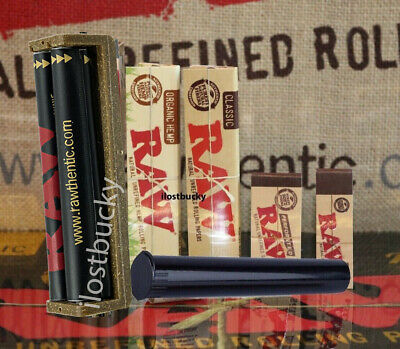 AUTHENTIC RAW ROLLING PAPER KING SIZE COLLECTION MACHINE+PAPERS+TIPS+Lighter3