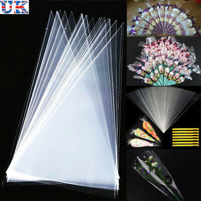 50 Clear Cellophane Cone Bags Large Kids Party Plastic Cello Sweet Bag 18 x 37cm
