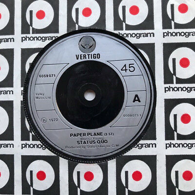 """Status Quo Paper Plane 7"""" 1972 Solid Silver Label  With Softer Ride Uk"""