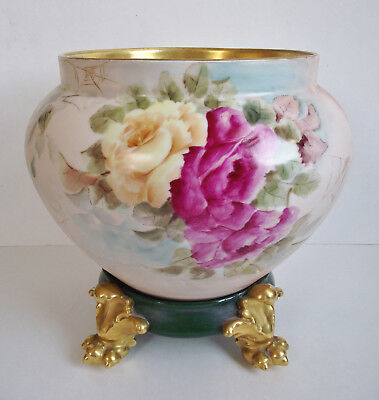 Antique LIMOGES ROSES Artist Signed JARDINIERE Hand Painted GOLD PAW FOOT PLINTH