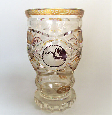 Antique BOHEMIAN RUBY AMBER Cut Clear BIRDS Beaker TUMBLER Etched ENGRAVED GLASS