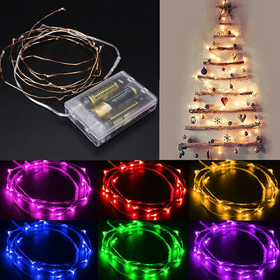 2M 20 LEDS Copper Silver Wire LED Fairy Starry Wire String Light Battery Powered
