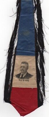 "1901 ""Our Teddy"" Roosevelt Campaign Ribbon ""With Hair"""