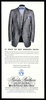 1942 Brooks Brothers man's suit with bow tie color photo vintage print ad
