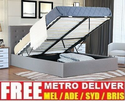 Alexander Gas Lift Double Queen King Size Grey Fabric Bed Frame