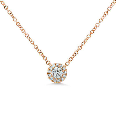 0.15CT 14K Rose Gold Natural Round Brilliant Diamond Solitaire Pendant Necklace