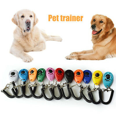 Pet Dog Puppy Clicker Trainer Training Obedience Aid Tool Wrist Strap Accessorie
