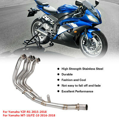 Motorcycle Front Middle Pipe Exhaust Header for Yamaha YZF-R1 MT-10 15-18
