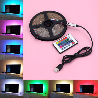 1M-5M USB LED Tira Luz TV Luz de Fondo RGB Color Cambio + Remoto Control Nuevo
