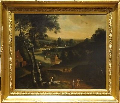 Fine Large 17th 18th Century Anglo Flemish River Village Landscape Oil Painting
