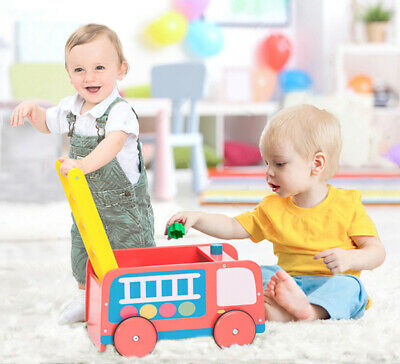 Kids Red Wooden Truck Push Along Walker Baby First Step Mobility Learn Stand Toy
