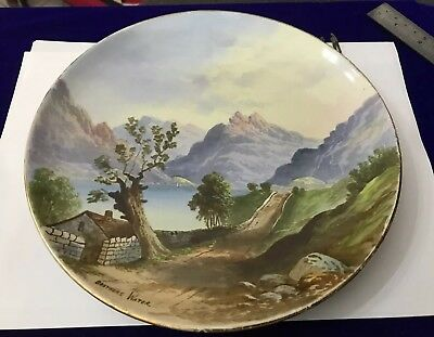 Vintage Antique Hand Painted Scenic Plate - Brothers Water Lake District Cumbria