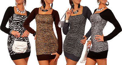 Sexy Mini Abito Animale Motivo Body-Con Tunica Stile collo Quadrato