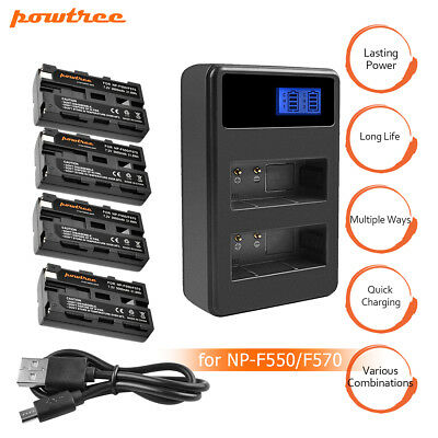 Powtree NP-F570 Battery or Charger for Sony NP-F330 NP-F550 NP-F570 HT