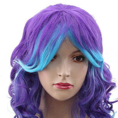 Christmas Women Long Full Hair Wigs Rainbow Curly Wavy Cosplay Deluxe Wig BS