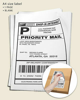 200 Sheets 1 up 210 x 297mm Peel & Paste Blank A4 Office Mailing Address labels