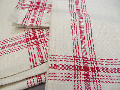 """Unused Set of 3 ( three ) Linen Towels Runners Napkins Red Stripes 24 """" by 28 '"""""""