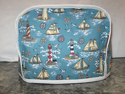 Sailboat Lighthouse Birds blue cotton fabric Handmade 2 slice toaster cover ONLY