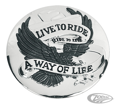 Chrome Live To Ride Gas Cap Cover For Harley-Davidson 1982 To Present