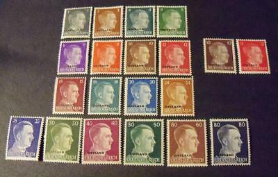 WW2 German Third Reich Occupation Hitler head stamps *OSTLAND* 20 stamps -MH+MNG