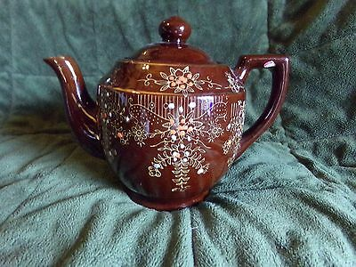 Vintage Moriage Brown Red Clay Hand Painted Flowers Japan Teapot