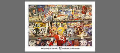 Super Bowl 25th Anniversary (1994) by Merv Corning Rare Historic Collage POSTER