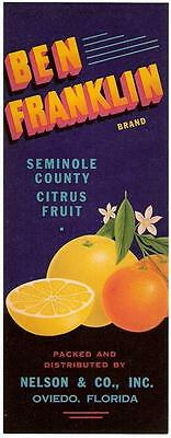 Ben Franklin Brand Citrus Fruit Crate Strip Label Nelson & Co. Oviedo, Florida