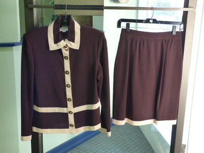St. John Collection By Marie Gray Brown Santana Knit Blazer Skirt Suit Size 2