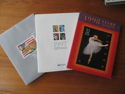 Lot of 3 Commemorative Stamp Yearbooks 1997 1998 1999 w/paper cases
