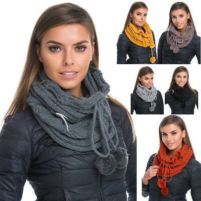 Womens Winter Warm Chimney Scarf with Brooch and Pompons Cable Knit Shawl WA23