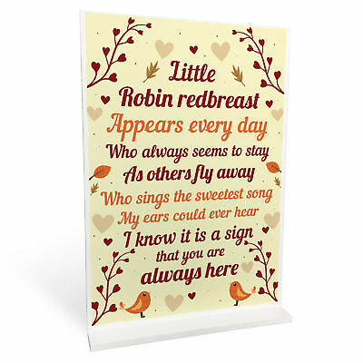 Robin Memorial In Memory Mum Dad Nan Grandad Standing Rememberance Plaque Gift